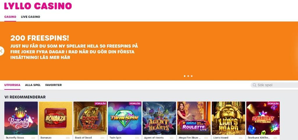 Lyllo Casino svenskt online casino med casinobonus bestående av free spins, samt ett starkt utbud av online slots.